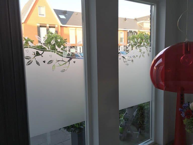 Raamdecoratie van raamfolie met het effect van gezandstraald glas met vogels aangebracht in Hoorn.